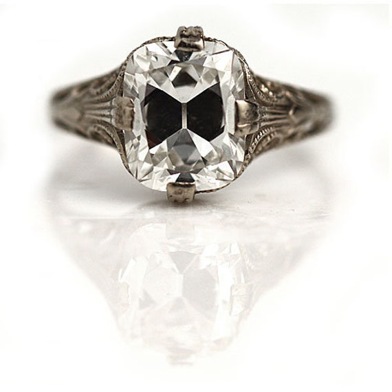 Art Deco Cushion Cut Engagement Ring - Antique Art