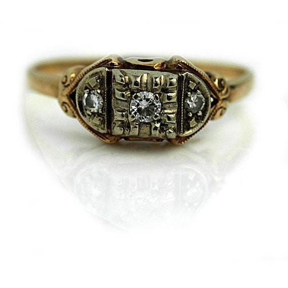 Vintage Dainty Diamond Ring Simple Diamond Antique