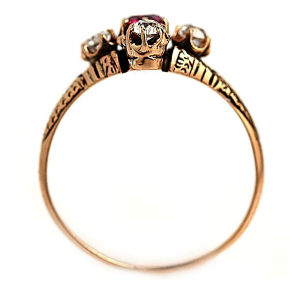 Antique Victorian Ruby Engagement Ring - image 3