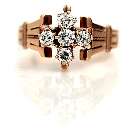 Victorian Engagement Ring - Vintage Victorian .55… - image 1