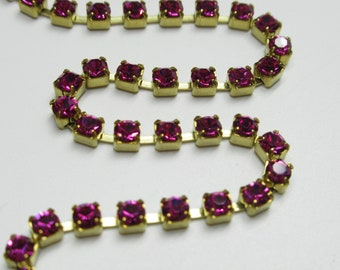 3mm Fuchsia Pink Rhinestone Chain Silver Plated Setting Czech Crystals