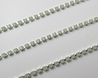 Choose Length Czech Crystals Silver Setting 2mm Jet Black Rhinestone Chain