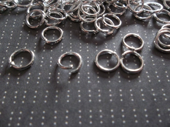 Qty 142 Pieces 6mm Antiqued Silver Round Jump Rings 20 gauge