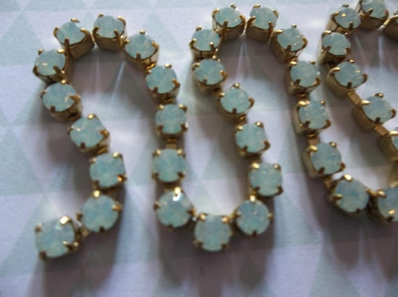 by the Foot Coral Orange//Brass 24PP Czech Crystal Rhinestone Cup Chain
