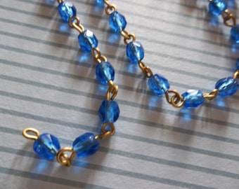 Sapphire Blue 4mm Fire Polished Glass Beads on Brass Beaded Chain - Qty 17 Inch strand