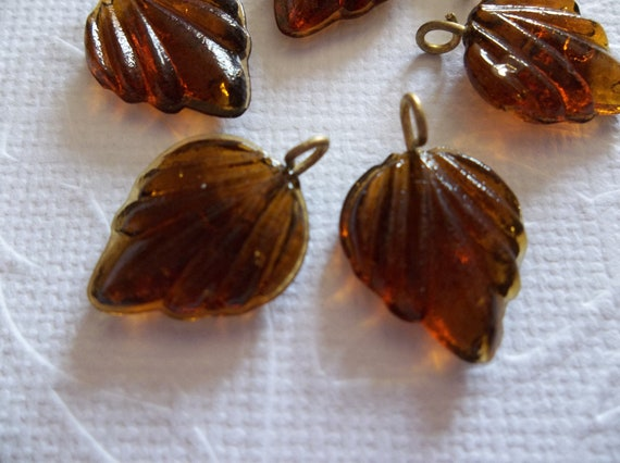 12 Smoke Topaz Leaf Charms Beads Leaves with Brass Loops 24mm X 14mm