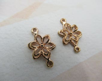 Rose Gold Plated Flower Connectors - Flower Charms - Flower Pendants - Layered Petals - 2 Loops - Qty 2 *NEW ITEM*