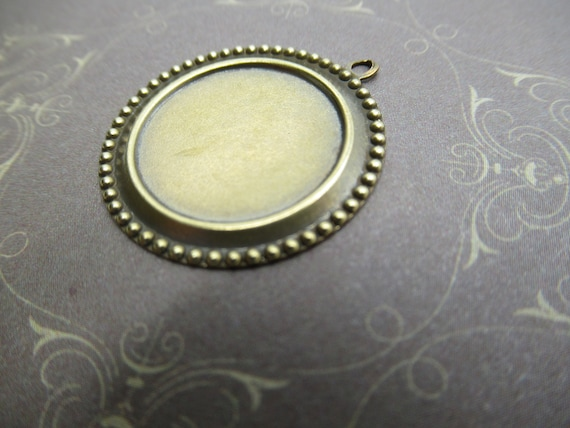 Qty 2 25X18mm Antiqued Brass Beaded Edge /& Open Back 4-Pronged Setting