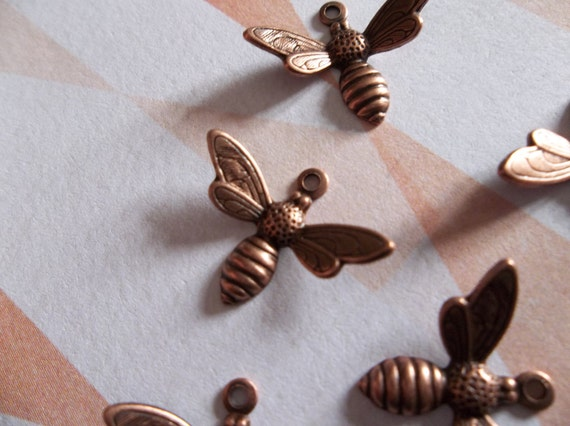 Tiny Antiqued Copper Bee Charms or Pendants Wings Bent in Flight 13X7mm Qty 5
