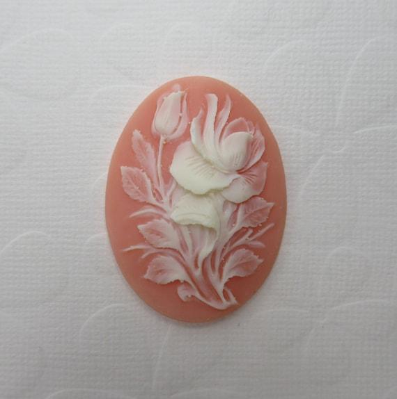 White Rose Cameos 25X18mm Blue Cabochons Flowers Retro Vintage Style 6 pcs