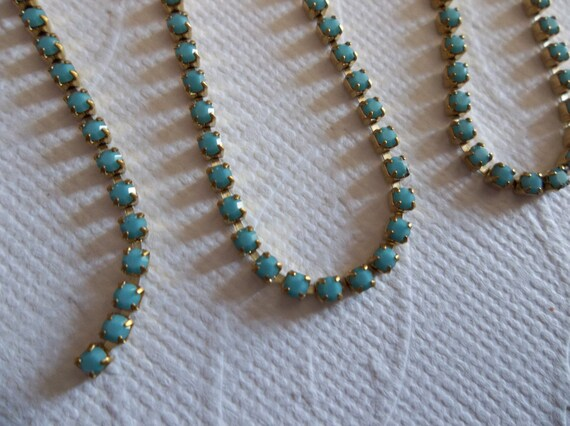 Brass Setting Czech Crystals 2mm Turquoise Rhinestone Chain Choose Length