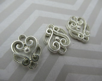 Silver Scroll Connectors - Silver Drop Links -  Chandelier Earring Findings - 2 Loops - SIlver Plated Jewelry Supplies - Qty 12 *NEW ITEM*
