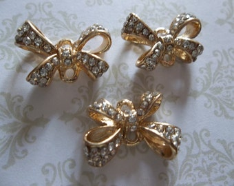 Jewelry Connectors - Gold Bows with Clear Rhinestones - 14 x 19mm - 3 pieces