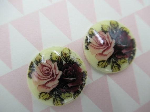 German Vintage Cameos 18X13mm Floral Cabochons on Matte Crystal Base w Roses