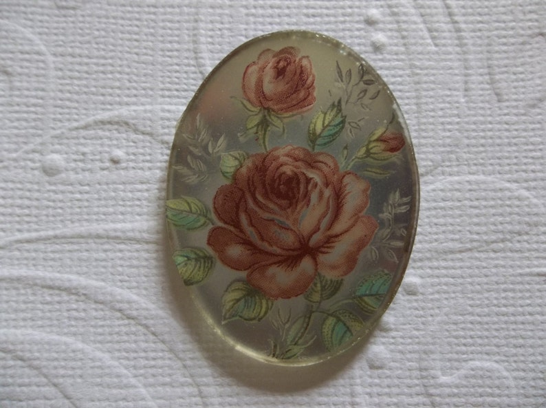 Qty 6 Vintage Cameos Blue Rose on White Glass 18X13mm Cabochons