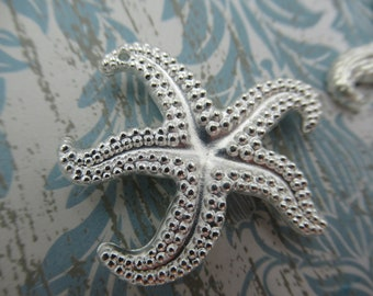 SIlver Starfish Pendant - 31mm - Star Fish Beads - Silver Beach Charms - Two-Sided - Qty 4 *NEW ITEM*