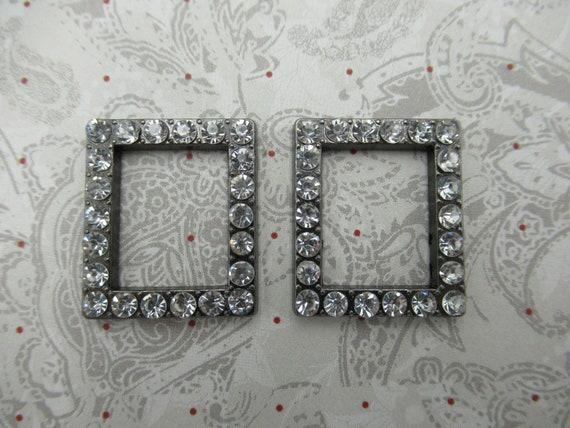 Vintage Style Rhinestone Connectors Glass Charms Pendants Silver Flower Links