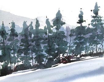 Winter Glade - Original Watercolor Painting
