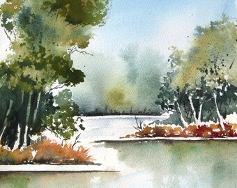 Cottonwood Bend - Original Watercolor Painting