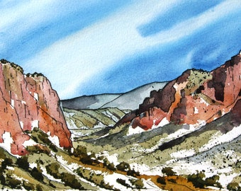Red Bluffs - Original Watercolor Painting