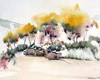 Autumn Cottonwoods 2 - Original Watercolor Painting