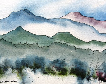 New Mexico Mountain Morning - Original Watercolor Painting