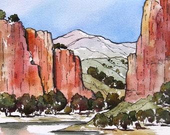River Canyon - Original Watercolor Painting