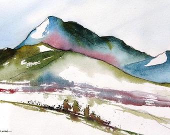 Sangre De Cristo Mountains At Santa Fe - Original Watercolor Painting