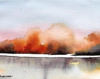 River Sunset - Original Watercolor Painting