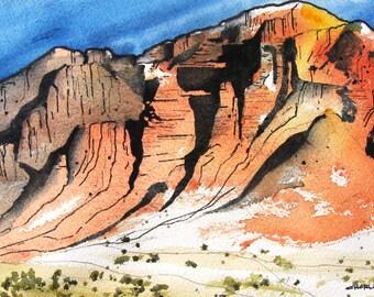 Red Rocks In The Desert - Original Watercolor Painting
