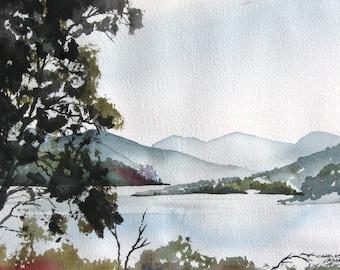 Misty Morning Lake - Original Watercolor Painting