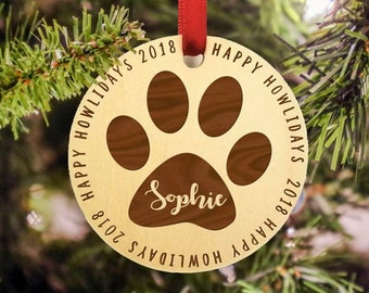 Pet Christmas Ornament - Personalized Wooden Christmas Ornament - 2021 - Christmas Ornament - Happy Howlidays - Christmas for Pets - Rustic