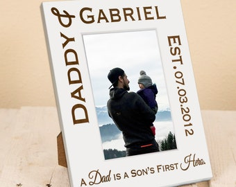 Dad and Son/Daughter Personalized Frame - Fathers Day Dad Gift from Children, Gift Box Included, Present For Father