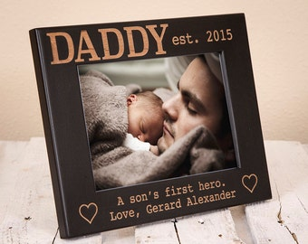 Personalized Daddy Picture Frame, Daughter's First Love, Son's First Hero, Fathers Day Picture Frame for Daddy From Children