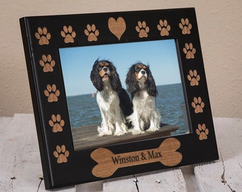 Personalized Dog Picture Frame | Gift for Dog Owner | Custom Picture Frame with Dog's Name | Frame with Dog Bone and Dog Name | Pet Portrait