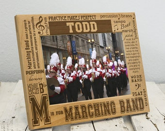 Personalized Marching Band Picture Frame - Marching Band Gift - Marching Band Custom Gift - Picture Frame for Marching Band Member - Wooden