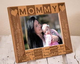 Personalized Mommy Picture Frame, Includes Daughter Son Name, Gift Box, Thoughtful Mothers Day Present for Mom 2020, New Mother Gift