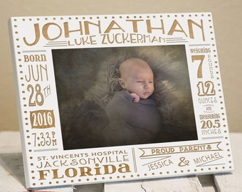 Personalized Birth Announcement Picture Frame | Newborn Baby Picture Frame | Gift for New Parents | Nursery Picture Frame | Birth Stat Frame