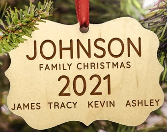 Personalized 2021 Family Christmas Ornament, Children's Names, Large Family, Hanging Ribbon Included