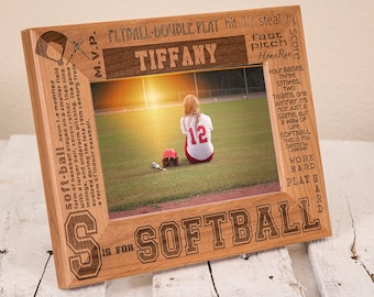 Personalized Softball Picture Frame - Softball Player Gift - Softball Coach Frame - Picture Frame for Athlete - High School Sports Team Gift