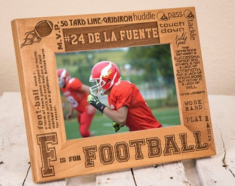 Personalized Football Picture Frame - Sports Gift for Football Player - Customized Gift for Athlete - Football Player Present - Coach Gift