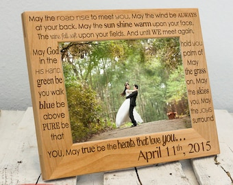 Personalized Wedding Picture Frame - Newly Wed Picture Frame - Custom Anniversary Gift - Wood Engraved Picture Frame for Newlyweds