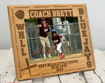 Personalized Youth Sports Team Gift   Youth Sports Coach Gift   Coaching Picture Frame   Wood Engraved Coaching Gift   Sports Team Frame