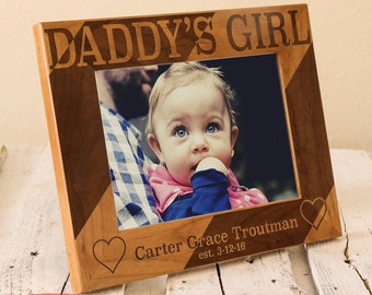 Personalized Daddy's Girl Picture Frame, Includes Daughter Name, Gift Box, Custom Fathers Day Gift for Him from Her