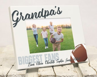 Grandpas Biggest Fans Personalized Fathers Day Frame, with Grandkids Names, Fathers Day Present to Grandfather From Grandchildren