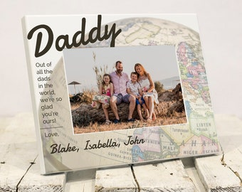 Personalized Fathers Day Frame, Best Dad in World Picture Frame, Unique Daughter Son to Father Fathers Day Gift, Solid Wood, Gift Box