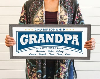 Championship Grandpa Personalized Fathers Day Sign With Grandkids Names, Unique Thoughtful Grandfather Fathers Day Gift 2021, Best Fathers