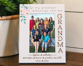 Personalized Grandma Picture Frame, Grandkids Names, Mothers Day Present to Grandmother From Grandchildren, Gift Box Included