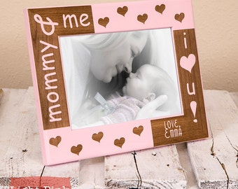 Personalized Mommy & Me Picture Frame, Includes Son Daughter Names, Custom Christmas Present for Mom, Cute, Unique, Thoughtful