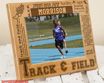 Personalized Track & Field Picture Frame-Wood Engraved-Get your name/number engraved!